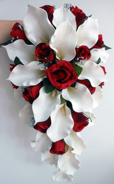 Wedding Bouquet - Ivory Calla Lillies, Deep Red Roses