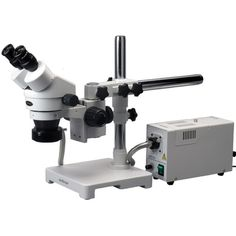 AmScope 3.5X-90X Stereo Zoom Boom Microscope with Fiber Optic Ring Light