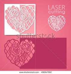 Laser cut wedding invitation or greeting card template vector with lace heart, pattern of roses. Image suitable for laser cutting, plotter cutting or printing.