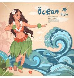Retro style hawaiian beautiful hula girl vector  - by transia on VectorStock®