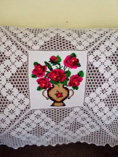 Crochet Flowers, Crochet Lace, Crotchet Patterns, Crochet Tablecloth, Christmas Cross, Filet Crochet, Cross Stitch Patterns, Tapestry, Diy Crafts