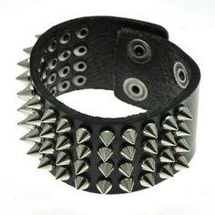 Black Leather Cuff Multiple Toned Spike Studs Bracelet