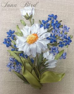 Set of White Daisies and Blue Forget me nots by SilkRibbonCreative