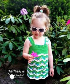 Free Crochet Pattern: Tropical Waves - Lacy Chevron Top For Little Girls |  My Hobby is Crochet