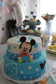Baby Mickey Mouse Torte I created this cake with my cousin, the mother of my nephew. We searched the internet for a biscuit dough and a delicious cream Mickey Mouse Torte, Baby Mickey Mouse Cake, Festa Mickey Baby, Mickey Mouse 1st Birthday, Minnie Cake, Baby Birthday Cakes, 1st Boy Birthday, Baby Cakes, Pastel Mickey