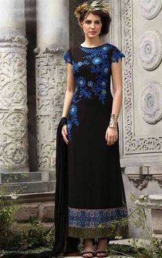 Picture of Aesthetic Black and Blue Color Salwar Kameez