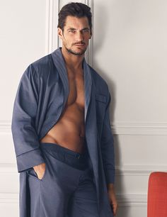 DAVID GANDY FOR AUTOGRAPH Pure Cotton Slim Fit Dressing Gown Navy Mix T075344 £39.50