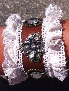 Steampunk Leather Cuff Bracelet with Lace and by Steamiscellania, $25.00