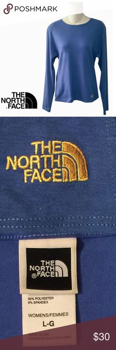 North Face Long Sleeve Blue Active T Shirt Top A versatile favorite. The classic Northface long sleeve T in Ocean Blue with signature logo. It was never worn North Face Tops Tees - Long Sleeve