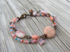 Beachcomber Double Strand Bracelet Pink by WorldOfSquirrelCraft, $25.00