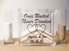 Unity Sand Ceremony Set with Lid - Sand Included - Once United Never Divided
