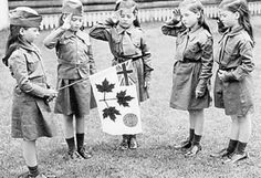 Dionne Quintuplets as Canadian Girl Guides, 1943. They belonged to St. Mary's Pack in Corbeil