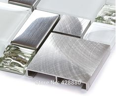 Silver metal and glass tile backsplash ideas bathroom brushed stainless steel sheet plated crystal glass mosaic kitchen wall tiles MGTY63; Size: 298x298x8mm; Color: Silver and White; Shape: Square and Rectangle; Usage: Backsplash & Wall