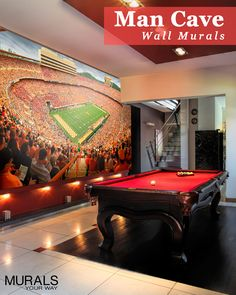 Man Cave or Fan Cave? Take your love of the game to the next level with sports wall murals! Custom sizes and can even use your own photo. - Tap The Link Now To Find Decor That Make Your House Awesome Sports Man Cave, Sports Wall, Man Cave Basement, Man Cave Garage, Basement Games, Garage Bar, Basement Storage, Garage Ideas, Basement Ideas