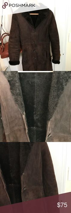 vintage J Crew shearling coat — sz S this brown shearling coat was purchased from J Crew for $1,000 almost 20 yrs ago! it was passed from my sister's friend, who gave it to my sister when she moved from NYC to the west coast; my sister then gave it to me when she moved down south. it's had a lot of wear over the past two decades but it's an awesome and super warm coat! price reflects used condition J. Crew Jackets & Coats