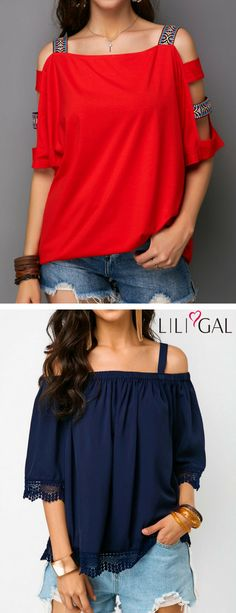 cute summer tops for women features, Ladder Cutout Sleeve, Square Collar, Lace Edging, Cold Shoulder, off the shoulder, cutout detail, Strapy, Half Sleeve, red, navy blue, blouse, t shirt. #liligal #blouse #shirts #top #womenswear #womensfashion