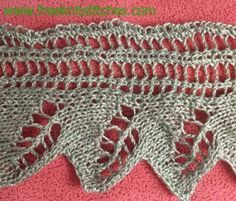 Border with leaves knitting stitches lace edge pattern