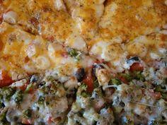 De quase tudo um pouco: Pizza com massa de focaccia