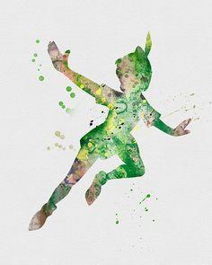 Peter Pan Watercolor Art