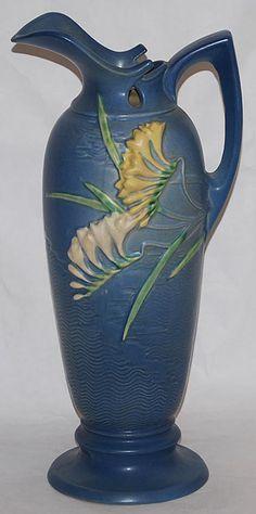 Roseville Pottery Freesia Blue Ewer 21-15