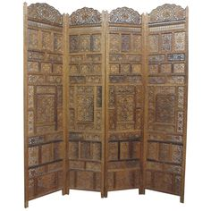 Impressive Asian Carved Four-Panel Screen   See more antique and modern Paintings and Screens at http://www.1stdibs.com/furniture/asian-art-furniture/paintings-screens