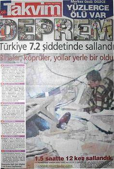 Takvim gazetesi 13 kasım 1999 Newspaper Archives, Newspaper Headlines, November 13, Nostalgia, Calendar, History, Wallpaper Ideas, Istanbul, Van