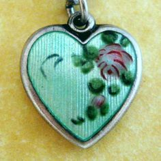 Vintage WALTER LAMPL Sterling Guilloche & Enamel PUFFY HEART Charm ' Frank '