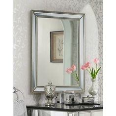 "Uttermost Palais Beaded 30"" x 40"" Silver Wall Mirror - #6D394 | www.lampsplus.com"