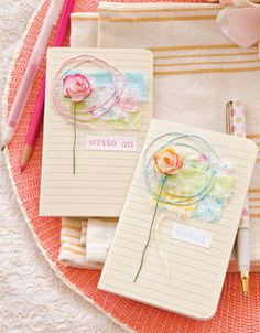 Andrea Ockey parr removed the covers and layered fabric swatches to create these fun, no-sew journals. | Somerset Life