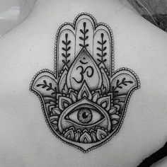 Make a powerful fashion statement with these quirky hamsa tattoos Look through our incredible collection of tattoo designs here for more inspiring ideas - Yoga Tattoos, New Tattoos, Body Art Tattoos, Hand Tattoos, Sleeve Tattoos, Tattoos Om, Ohm Tattoo, Om Symbol Tattoo, Lotus Tattoo