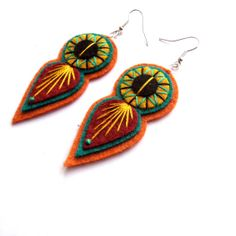 INDIE EARRINGS - Felt and hand embroidery