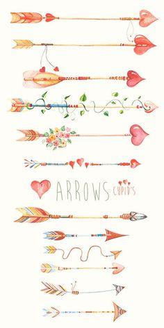 Arrows Сupid's Hand Drawn Watercolour Clipart. DIY by ReachDreams