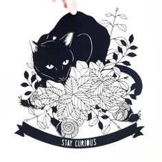 Stay Curious cat - papercut art by Emily Brown