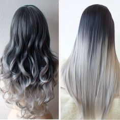 5 Star Seller, Black to Grey Ombre Hair Extensions, Silver Hair, Grey Hair… Black To Grey Ombre Hair, Ombre Hair Color, Gray Ombre, Black And Silver Hair, Grey Ambre Hair, Ombre Silver Hair, Ombre Brown, Hair Colour, Ombre Hair Extensions