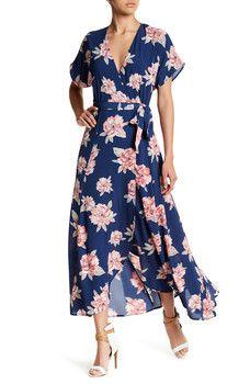 Bobeau - Short Sleeve Print Maxi Dress