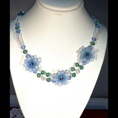 """Flower Girl  Necklace Cute Flower Necklace. Swarovski Crystals and Acrylic Flowers.  14"""" or 17"""". SS Extender  - 2.5"""" Swarovski Jewelry Necklaces"""