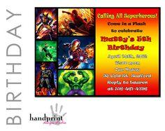 Superhero Birthday Invitation Marvel's Batman by HandprintDesign, $10.00