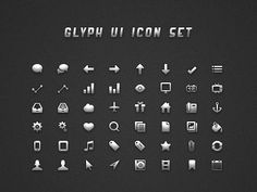 """Grab the free PSD, CSH file, and PNG files here: http://www.icondeposit.com/theicondeposit:24    Here is the """"Glyph UI Icon Set"""" I said I was going to release. It has everything to get you started on your website or application. All icons are 16 x 16 pixels in size and were professionally hand crafted pixel by pixel. This Icon set includes the PSD file, 48 PNG icons, and a CSH file (custom vector shape file). Everything is entirely vector, so you can re-scale them to any size if needed…"""