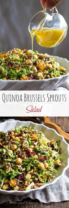Hypoallergenic Pet Dog Food Items Diet Program Lots Of Texture And Lots Of Flavor In This Festive Quinoa Brussels Sprouts Salad. Who Said Salad Can't Be The Center Of Attention At Thanksgiving Dinner? Veggie Recipes, Whole Food Recipes, Vegetarian Recipes, Cooking Recipes, Healthy Recipes, Warm Salad Recipes, Cooking Food, Family Recipes, Seafood Recipes