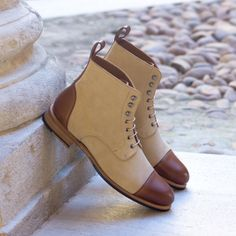 New+Handmade+Pure+Beige+Suede+&+Brown+Leather+Ankle+Boots+for+Men's Upper+Material+Genuine+Leather+&+Suede Inner+Soft+Leather+ Style+Ankle+High+Cap+Toe+Lace+Up Color+Beige+&+Brown Sole+Leather Gender+Male+ Heel+Leather+ ++++++++++++++IMPORTAN.