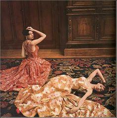 Jean Patou, two dresses in organza satin Bodin, Vogue Paris, April 1955