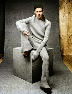 Ophelie Guillermand by Jason Kibbler for Vogue Russia September 2014 [Editorial] - Fashion Copious Foto Fashion, Knit Fashion, Grey Fashion, Fashion Shoot, World Of Fashion, Editorial Fashion, Winter Fashion, Womens Fashion, Fashion Design