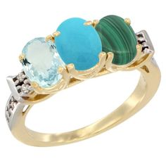 14K Yellow Gold Natural Aquamarine, Turquoise and Malachite Ring 3-Stone Oval 7x5 mm Diamond Accent, sizes 5 - 10 * To view further, visit now : Ring Bands