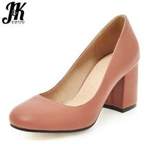 J&K Big Size 34-43 Casual Shallow Pumps Thick High Heel All Match Shoes Woman 2017 New Brand Solid Comfort Spring Summer Pumps(China (Mainland))