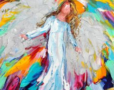 Original oil painting ANGEL whimsical palette por Karensfineart