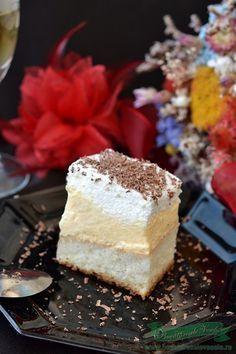 Prajitura Lapte de Pasare Romanian Desserts, Romanian Food, Romanian Recipes, Cheesecakes, Vanilla Cake, Feta, Caramel, Ale, Food And Drink