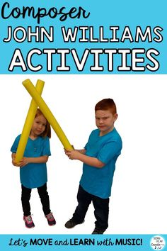 """Composer John Williams lessons using Pool noodles to show the beat, rhythm and dynamics to """"Star Wars"""" Music. Preschool Music, Teaching Music, Learning Piano, Preschool Bulletin, Movement Activities, Music Activities, Music Games, Rhythm Games, Music Clips"""
