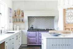 Opting for minimalist, neutral tones allows for bolder complementary features. We love this pretty lilac Aga nestled against a white tiled splashback. Kitchen Colour Schemes, Kitchen Colors, Kitchen Design, Bespoke Kitchens, Grey Kitchens, White Cabinets, Kitchen Cabinets, Pantry Inspiration, Small Floor Plans