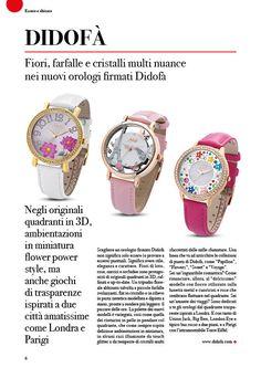 DIDOFA fiori farfalle e cristalli multi nuance nei nuovi orologi