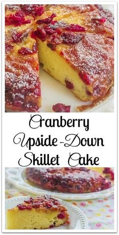 Cranberry Upside-Down Skillet Cake. A cream cheese skillet cake and a cranberry caramelized topping.#ad #HBFberries